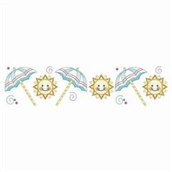 Summer Umbrella & Sun Border embroidery design
