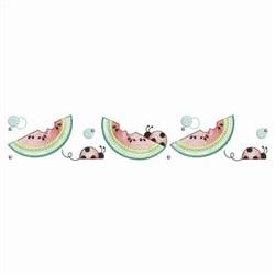 Ladybug & Watermelon Border embroidery design