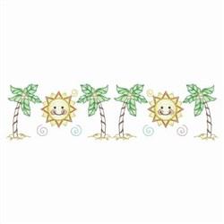 Palm Tree & Sun Border embroidery design