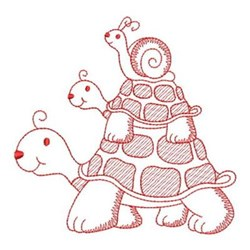 Redwork Stacked Turtles embroidery design