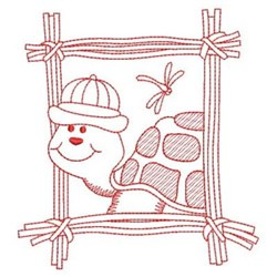 Redwork Turtle & Dragonfly embroidery design
