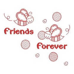 Redwork Friends Forever Bumblebees embroidery design