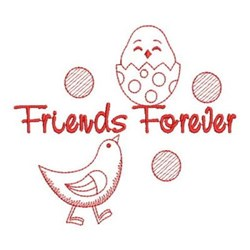 Redwork Friends Forever Chicks embroidery design