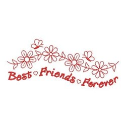 Redwork Friends Forever Flowers embroidery design