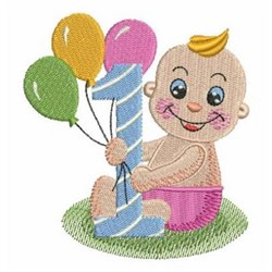 Babys  Birthday Balloons embroidery design