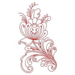 Heirloom Redwork Folk Flower embroidery design