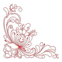 Heirloom Redwork Flower Corner embroidery design