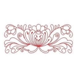 Heirloom Redwork Flower Border embroidery design