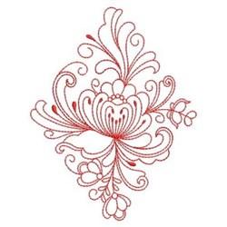 Redwork Heirloom Floral Diamond embroidery design