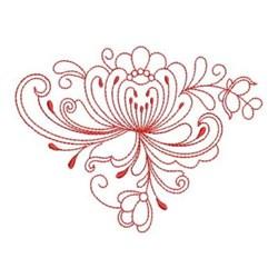 Heirloom Redwork Flower embroidery design