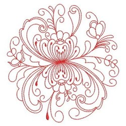 Heirloom Redwork Floral Circle embroidery design