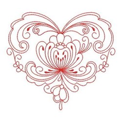 Heirloom Floral Heart embroidery design