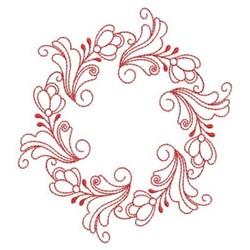 Heirloom Redwork Floral Circle embroidery design