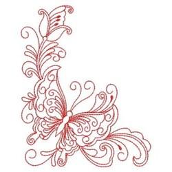 Redwork Heirloom Butterfly Corner embroidery design