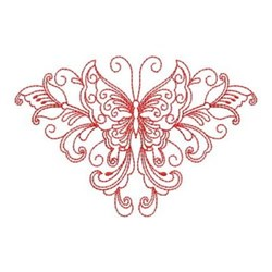 Redwork Heirloom Butterfly embroidery design