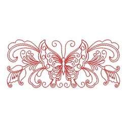 Redwork Heirloom Butterfly Border embroidery design