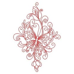Redwork Heirloom Butterfly Diamond embroidery design