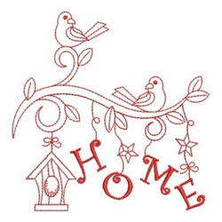 Redwork Birdhouse & Birds embroidery design