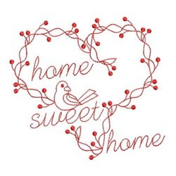 Redwork Home Sweet Home embroidery design