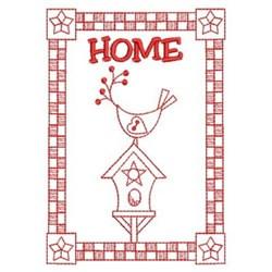 Redwork Home Banner embroidery design