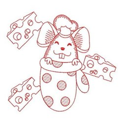 Redwork Mouse & Oven Mitt embroidery design