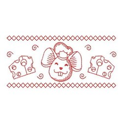 Redwork Mouse Border embroidery design