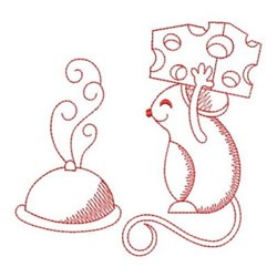 Redwork Mouse & Cloche embroidery design