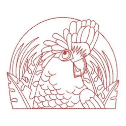 Redwork Rose Breasted Cockatoo embroidery design