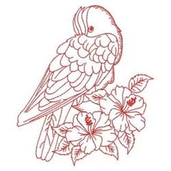 Redwork Cockatoo & Hibihscus embroidery design