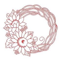 Redwork Sunflower Wreath embroidery design