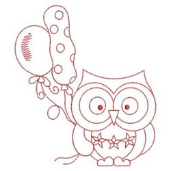 Redwork 4th Of July Owl embroidery design