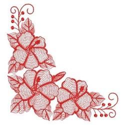 Redwork Hibiscus Corner embroidery design