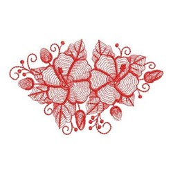 Redwork Hibiscus embroidery design