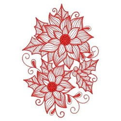 Redwork Rippled Poinsettia Oval embroidery design