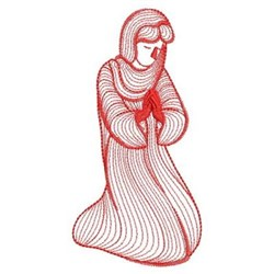 Redwork Nativity Mary embroidery design