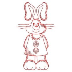 Redwork Bedtime Rabbit embroidery design