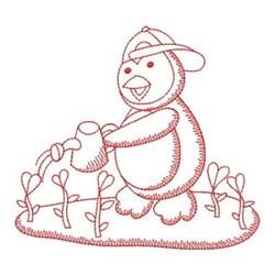 Redwork Gardening Valentine Penguin embroidery design