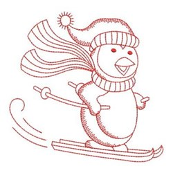 Redwork Skiing Penguin embroidery design