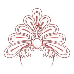 Redwork Swirly Decorative Peacock embroidery design