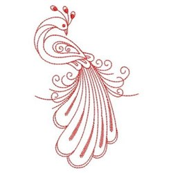 Redwork Peacock Tail Feathers embroidery design