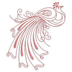 Redwork Peacock embroidery design