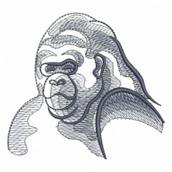 Rippled African Gorilla embroidery design
