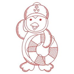 Redwork Penguin Sailor embroidery design