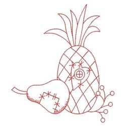 Redwork Country Pear & Pineapple embroidery design