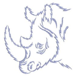 African Rhino Outline embroidery design