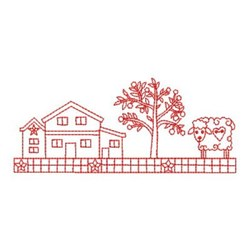 Redwork Country Farm Border embroidery design