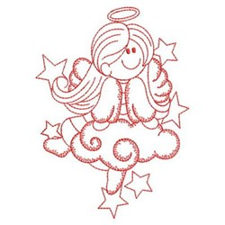 Redwork Decorative Angel Girl embroidery design