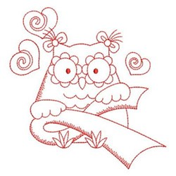 Redwork Pink Ribbon Owl embroidery design