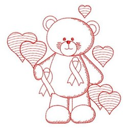 Redwork Pink Ribbon Teddy Bear embroidery design