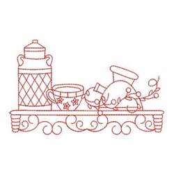 Redwork Kitchen Tea Shelf embroidery design